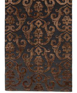 India Damask deep brown/blackvloerkleed Brokking Vloerkledenspecialist.nl IJsselstein