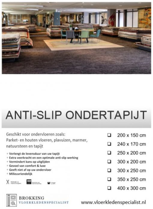 Anti-slip ondertapijt Brokking Vloerkledenspecialist.nl IJsselstein