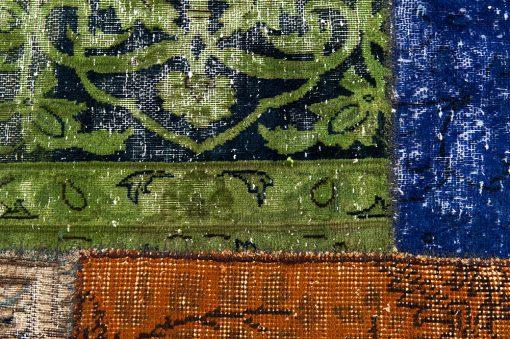 Vintage patchwork loper detail - Brokking Vloerkledenspecialist