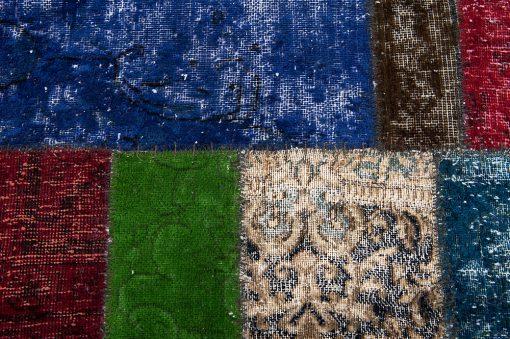 Vintage patchwork loper detail2 - Brokking Vloerkledenspecialist