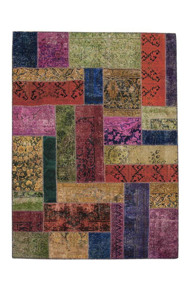 Patchwork recoloured vloerkleed uit Iran | Brokking Vloerkledenspecialist