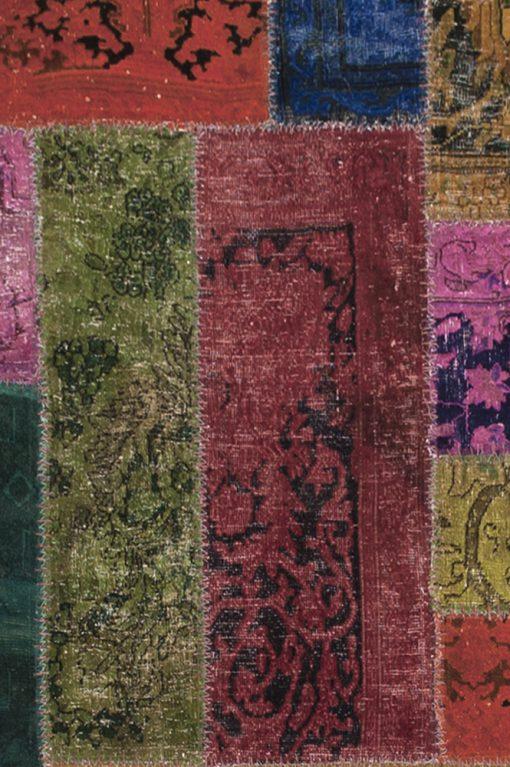 Patchwork recoloured vloerkleed uit Iran detail| Brokking Vloerkledenspecialist
