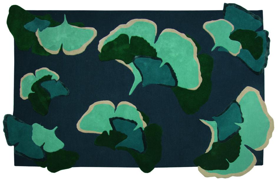 Ginkgo vloerkleed groen-blauwtinten