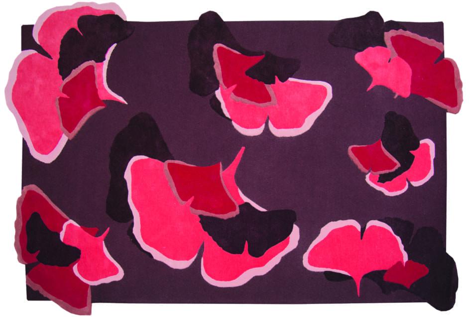 Ginkgo vloerkleed rood-paarstinten