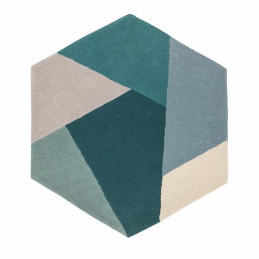 Hexagon vloerkleed blauw groen grijs poeder