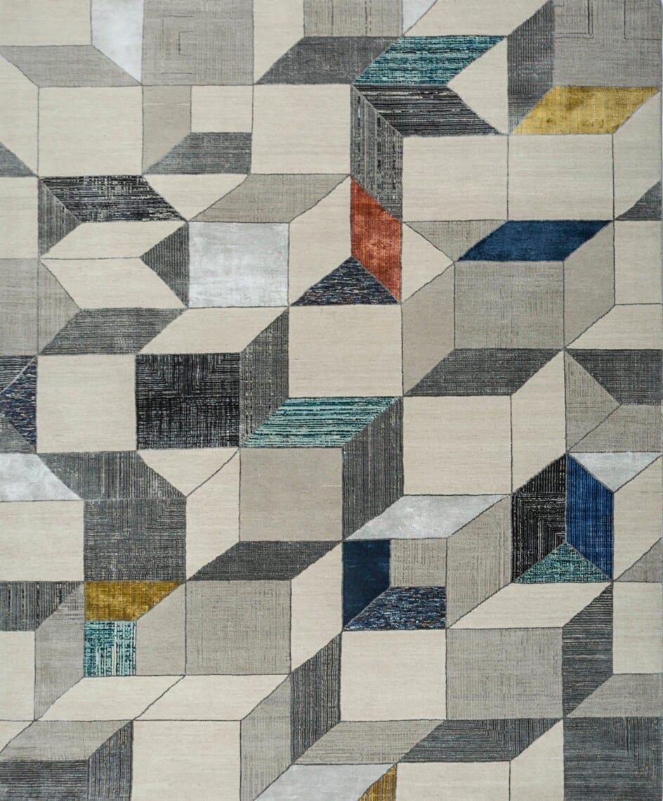 India Escher Elements Blue Ashwood vloerkleed Brokking Vloerkledenspecialist.nl IJsselstein