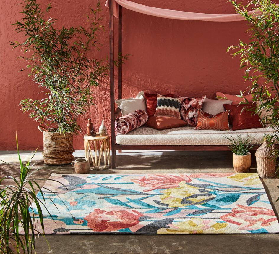 Outdoor tapijt Harlequin Verdaccio coral